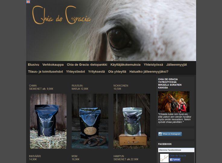 Chia de Gracia tarjoaa hevosten hyvinvointia edistäviä ja ylläpitäviä chia-siemeniä sekä muita, pääasiassa puhtaasti luonnosta saatuja lisäravinteita.
