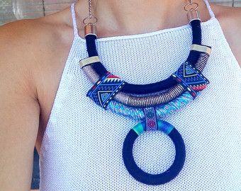 Collar de cuerda, declaración collar, gargantilla, gargantilla, gargantilla de Boho, collar africano, joyería africana, Gif para su, collares