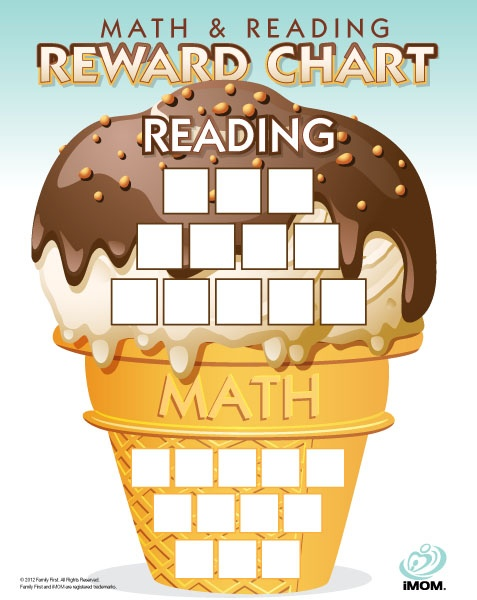 Math and Reading Reward Chart - Keep them brushed up over the summer with a cute reward idea.