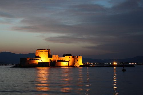Nafplio by night! The water castle of Bourtzi!