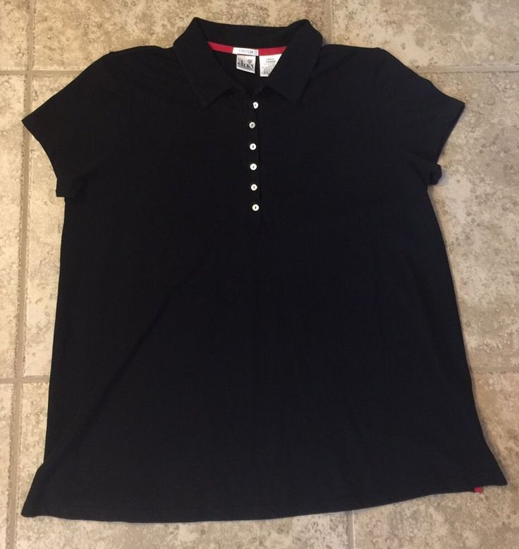 Duo Maternity Size Large Black Polo Shirt  #DuoMaternity #PoloShirt