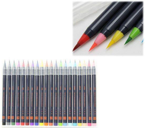 Watercolor Brush 20 Color Set Brush Pen Brand New Japan