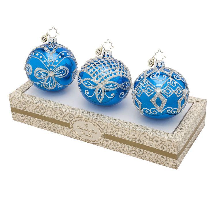 Christopher Radko Ornaments 2015 | Radko Blue & Silver Boxed Glass Ornament