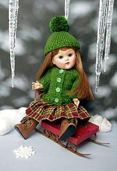"*EVeRGReeN WiNTeR*..a HandKnit Sweater, Plaid skirt, & cute Hat with Pom Pom for Ginny or Muffie 7.5"" DoLLs You can special order this off my website which takes 2+ weeks. Matching set for Ginny boys available on special order also. Click the pix to take you there. www.karmelapples.com"