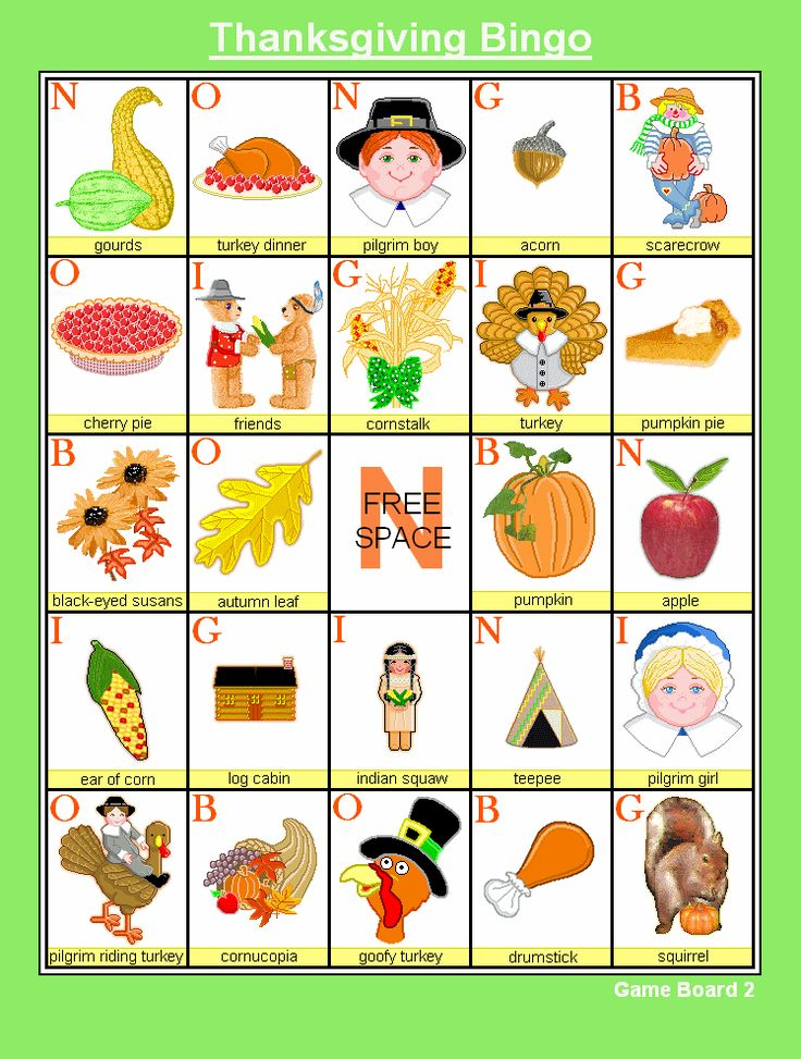 FREE Thanksgiving Bingo - Holiday Games at Kid Scraps