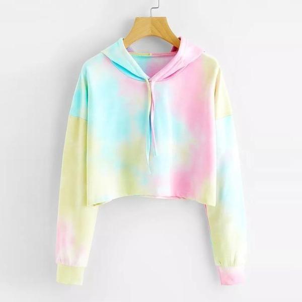 Cropped Sudaderas Mujer FeiTong Hooded Sweatshirt Women Long Sleeves Rainbow Pullover Topuotelab