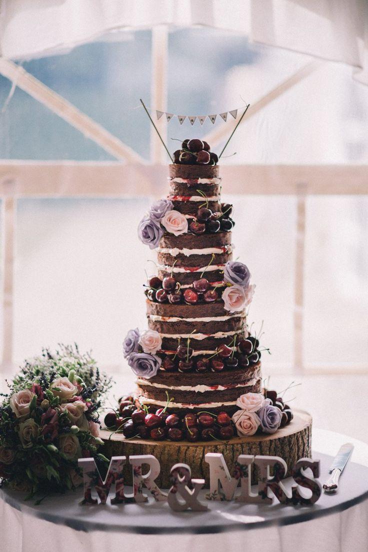 Naked Black Forest Gateau Cake Beautiful Relaxed Summer Blush Wedding http://jenmarino.com/