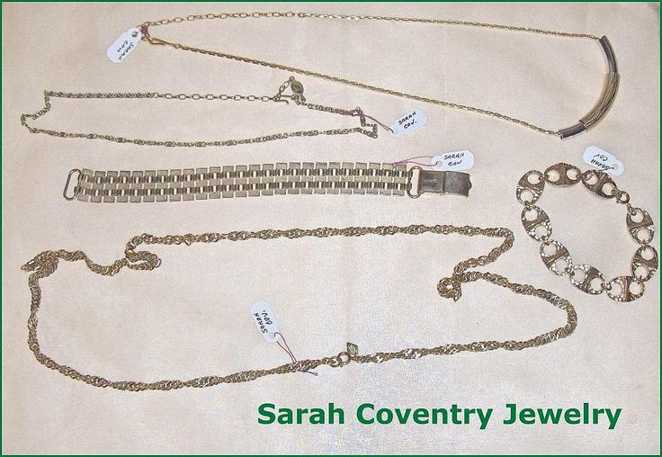 Vintage Sarah Coventry  Jewelry Group  of Chains and Bracelets by EttasEmporium on Etsy