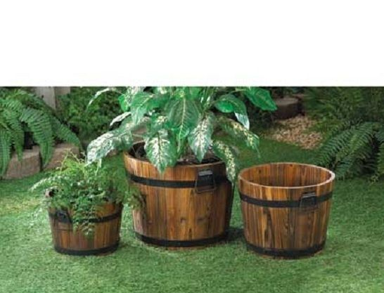 3 Fir Wood Planter Barrels Flower Pots Plant Holders