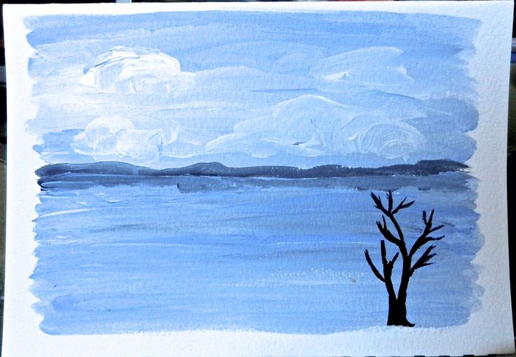 Hand Painted Note Card, Landscape, 5x7, Canadian Ocean Scenery by FHarrisArtShop on Etsy