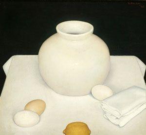 'Still life with Eggs','Stilleven met eieren', 1925 - Jan Wittenberg | Oil on canvas| photo De Wieger, Deurne  |brabantcultureelbrabantliterair