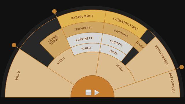 Orkesterikone soittaa Jean Sibeliuksen Finlandian RSO:n esittämänä. Sen avulla voit kuunnella tarkemmin eri soitinryhmiä sekä seurata kapellimestarin työskentelyä. Kannattaa varustautua kuulokkein!