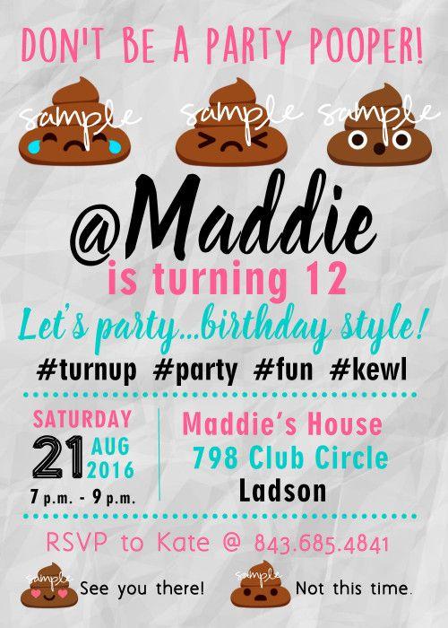 20 best TWEENS TEENAGE GIRL Birthday Party Invitations images on – Teenage Girl Birthday Party Invitations