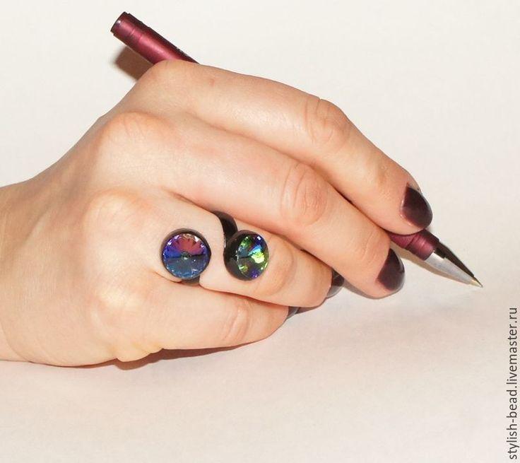 """Купить Кольцо """"Лагуна"""" - комбинированный, кольцо, колье ручной работы, кольцо с крупным камнем"""