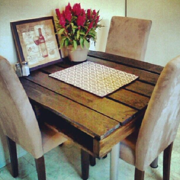 66 best images about apt on pinterest pop art kitchen for Dining room tables made from pallets