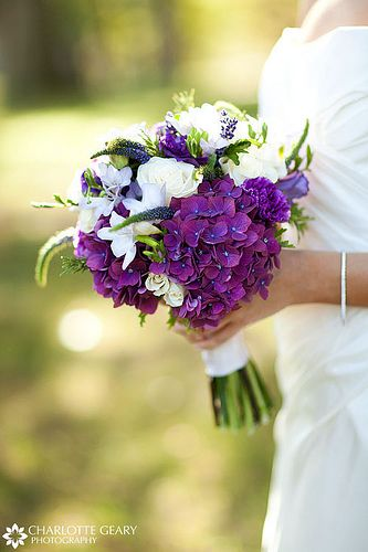#1 Bridesmaids Bouquet to be Mixed with #2 Bridesmaids Bouquet. From this bouquet, please use purple hydrangeas and white flowers (not sure if they are roses, also looks like fresia vs some other white lily?)