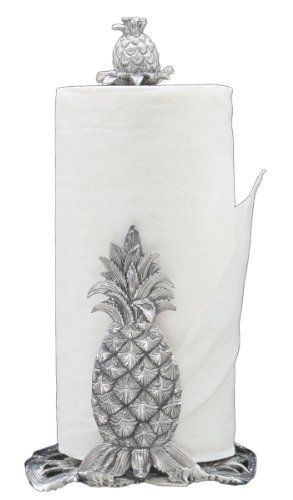 Arthur Court Pineapple 14-1/2-Inch Paper Towel Holder by Arthur Court Designs. $59.00. Arthur Court 14-1/2-inch pineapple paper towel holder. Manufactured with Arthur Court's signature premium aluminum. Festive pineapple design. Hand wash, towel dry. Mix and match with additional Arthur Court western theme pieces. Festive and functional, this Arthur Court pineapple paper towel holder features a round base with leaf accents, with a standing pineapple silhouette attach...
