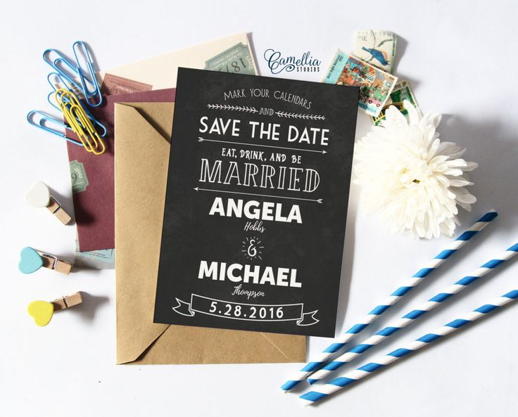 Printable Chalkboard Rustic Typography Save The Date   Customized Printable Vintage Eco Wedding Bohemian Floral Kraft Save The Date by CamelliaStudios on Etsy https://www.etsy.com/listing/273271556/printable-chalkboard-rustic-typography