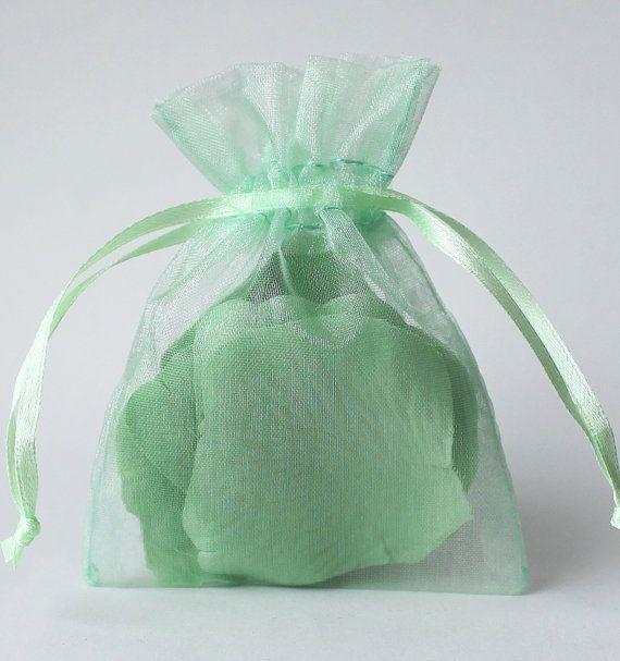 Wedding Favor Ideas Organza Bags : Green Organza Bags, 3 4 Inch Sheer Favor Bags, For Wedding Favors ...
