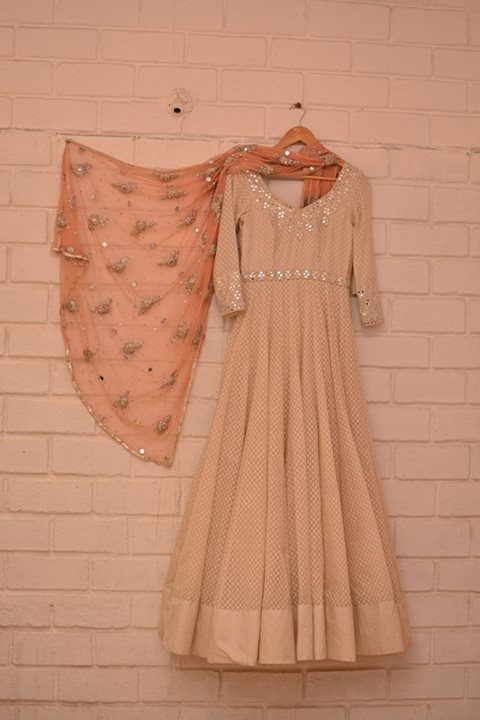 Abhinav Mishra - Cream anarkali with 3:4 sleeves and light embellishments paired with peach embellished sheer dupatta