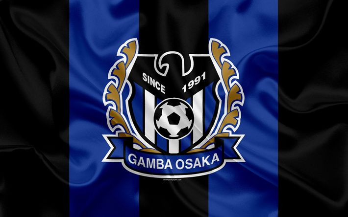 Download wallpapers Gamba Osaka, 4k, Japanese football club, G-Osaka FC logo, emblem, J-League, football, Osaka, Japan, silk flag, League Division 1, Japan Football Championship