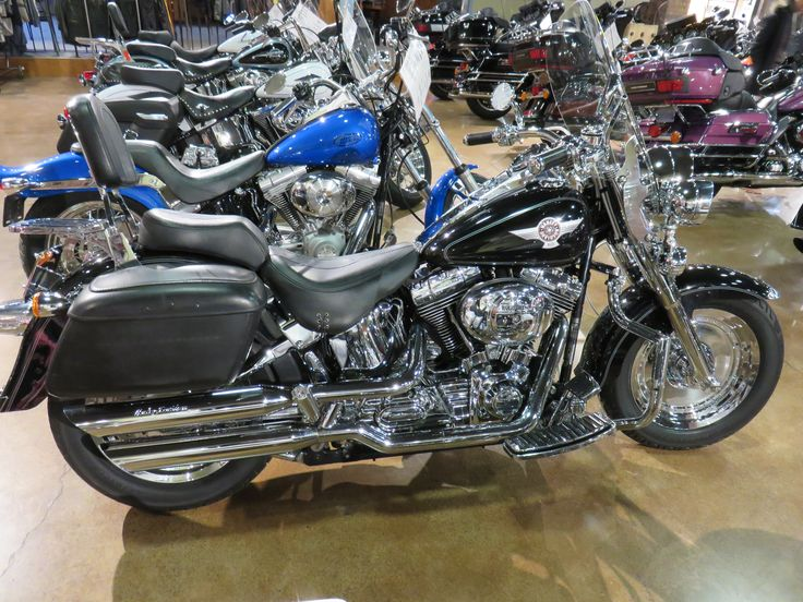Clare's harley-Davidson Motorcycles - 2005 Harley-Davidson® Fat Boy® Vivid Black. Chrome front end, wheels, switch housings & buttons, Quick detach windshield & backrest. Slip on exhaust, heated grips