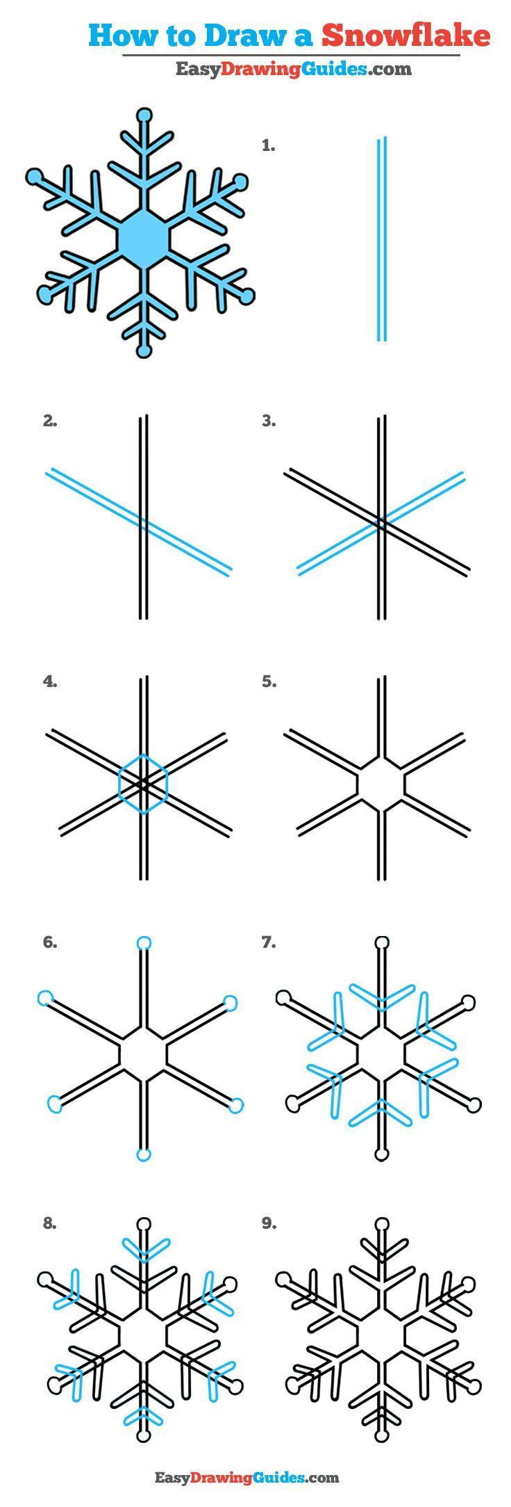 Learn How to Draw a Snowflake: Easy Step-by-Step Drawing Tutorial for Kids and Beginners. #snowflake #drawing #tutorial. See the full tutorial at https://easydrawingguides.com/how-to-draw-a-snowflake-really-easy-drawing-tutorial/