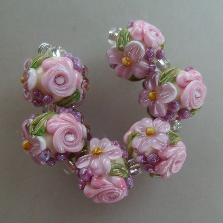 bliss rosy lavender floral abundance on ivory lampwork bead set jewelry on artfire