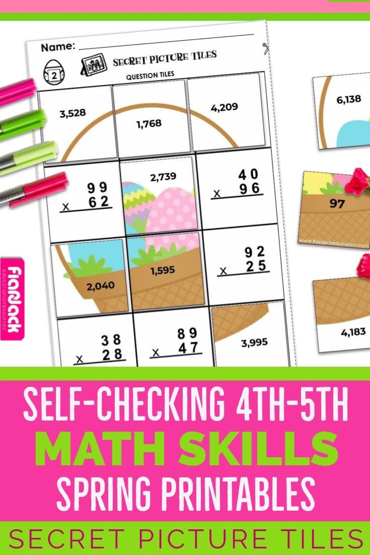 Spring Easter 4th 5th Math Worksheets These Self Checking 4th 5th Math Worksheets Are Too Fun They Cover 4 5th Grade Worksheets Spring Math Math Worksheets [ 1102 x 735 Pixel ]