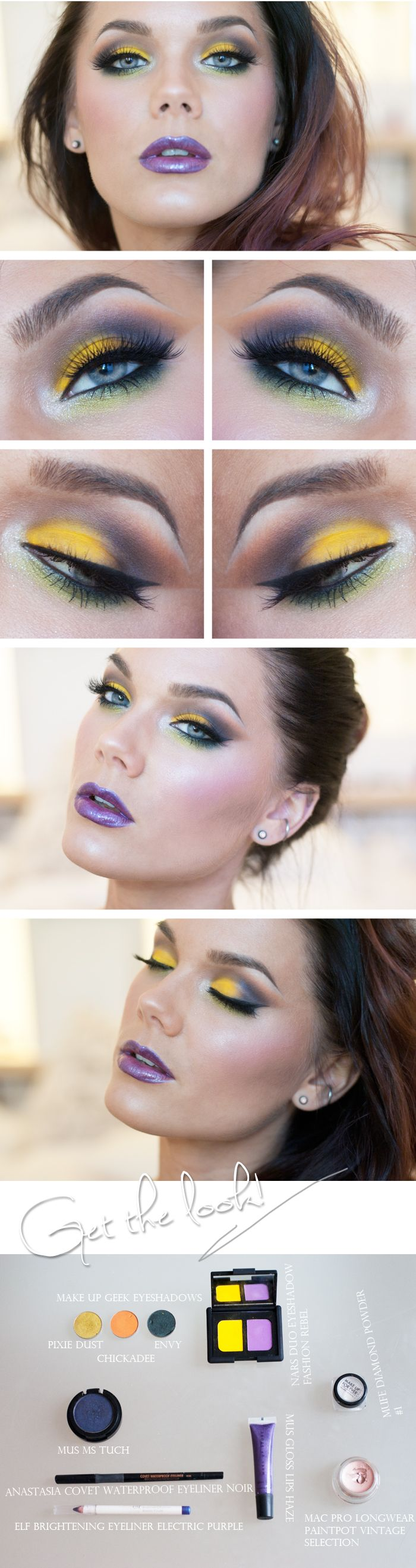 "Today's Look : ""I'll Wrap my hands around your neck so Tight with Love"" -Linda Hallberg (Stunning is the word that comes to mind with this eye look. The brightest of yellows, purple, teal, orange and gold, and that lip color!)07/15/13 Nars Duo Eyeshadow Fashion Rebel, Mug eyeshadows Pixie Dust, Envy, & Chickadee"