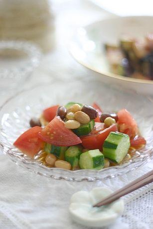 トマトと豆の和風サラダ | 美肌レシピ