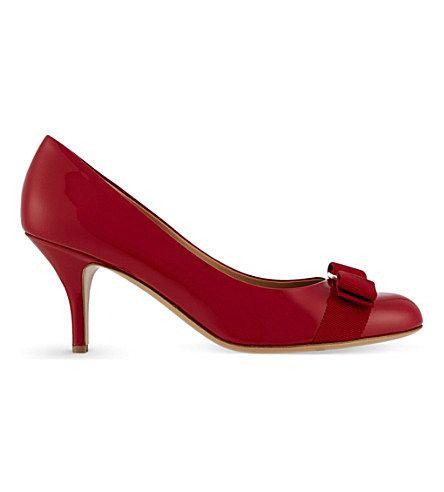 FERRAGAMO Carla 70 leather court shoes (Red