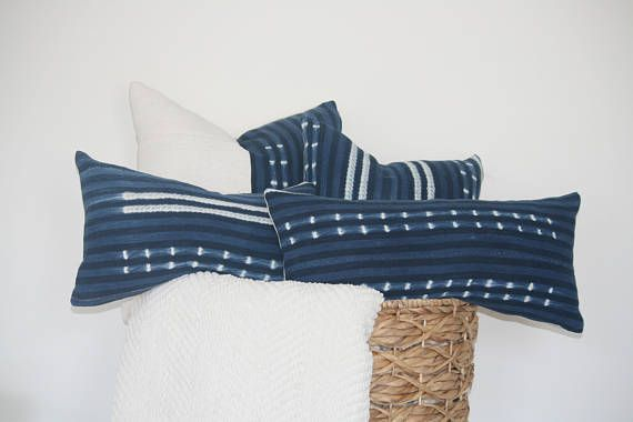 Vintage Indigo Pillow Cover 12 X 24 Lumbar Authentic African Indigo Boho Pillow Pillow Covers Pillows Boho Pillows