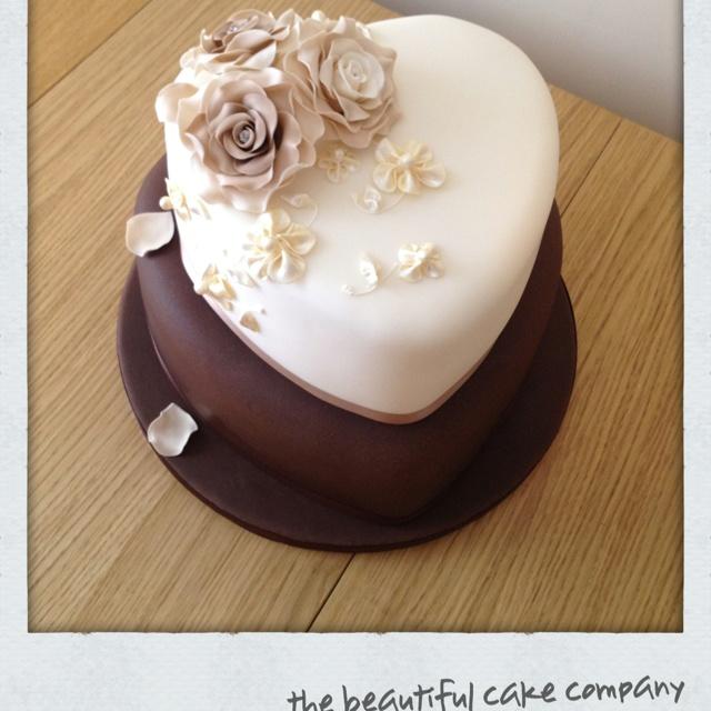 Heart shape wedding cake