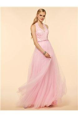 Spring Natural All Sizes Summer Lace Pink Floor-Length V-Neck Dress