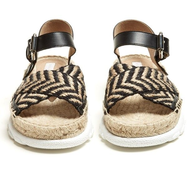 Stella McCartney Woven-rope espadrille sandals (6.837.195 IDR) ❤ liked on Polyvore featuring shoes, sandals, wide width shoes, wide sandals, ankle strap espadrilles, rope sandals and sports shoes