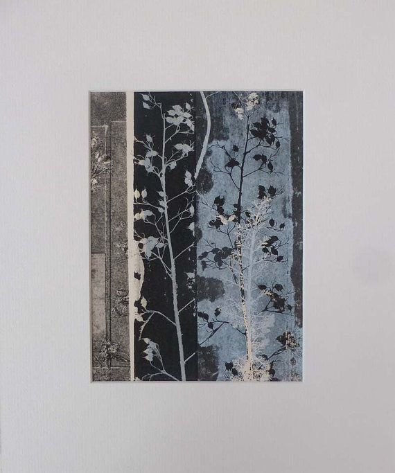 Contemporary botanical print with mount ready by fieldandhedgerow