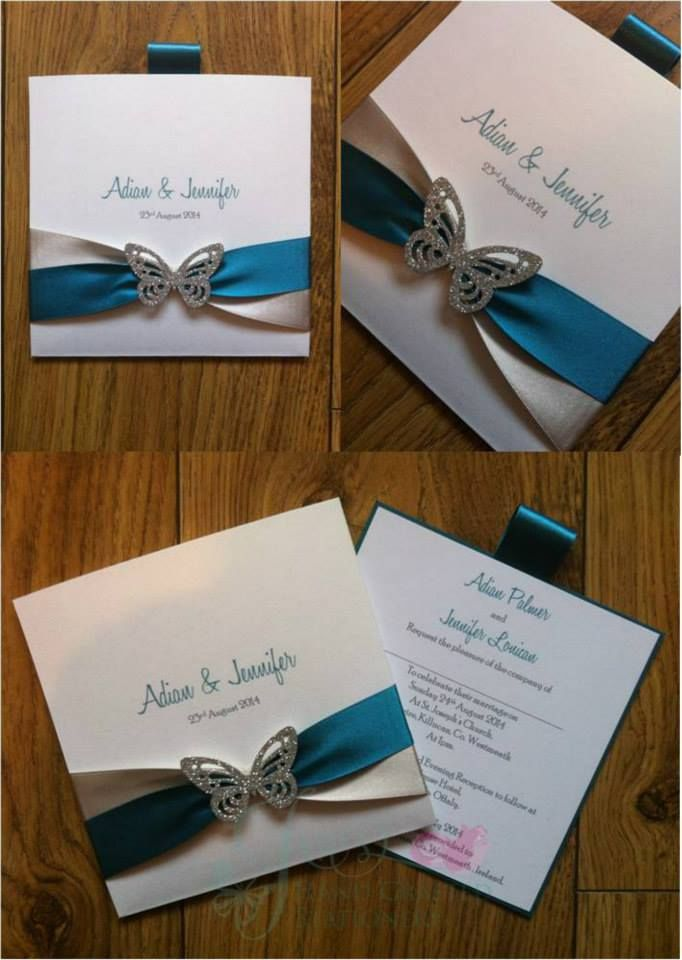 Teal and silver wedding wallet invitation with silver butterfly www.jenshandcraftedstationery.co.uk www.facebook.com/jenshandcraftedstationery
