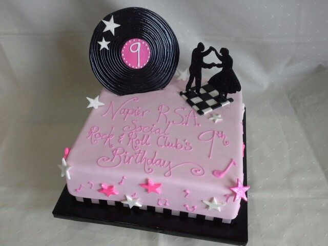 Rock n roll silhouette dancers edible with record & dance floor pink & white themed cake created by MJ www.mjscakes.co.nz in sunny Hawkes Bay NZ