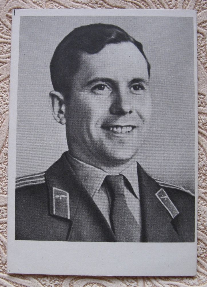 1962 Russian photo postcard Soviet cosmonaut P. POPOVICH USSR Astronaut Space