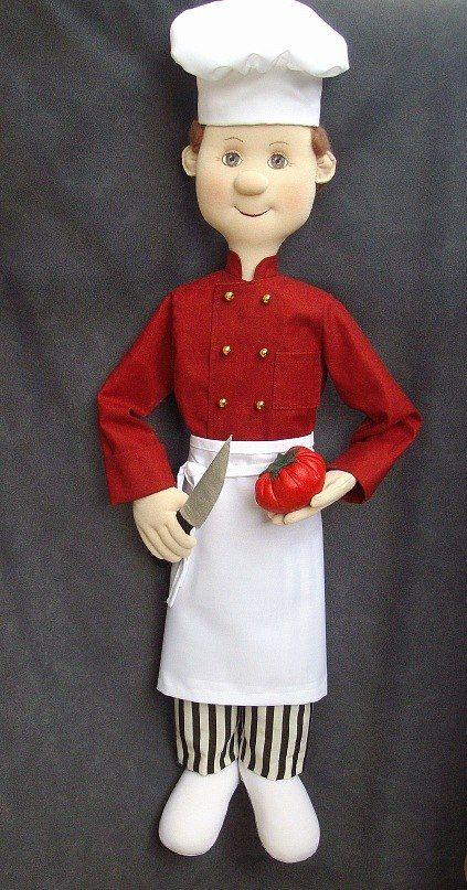 Повар. Интерьерная текстильная кукла. 80 см. Fabric doll.