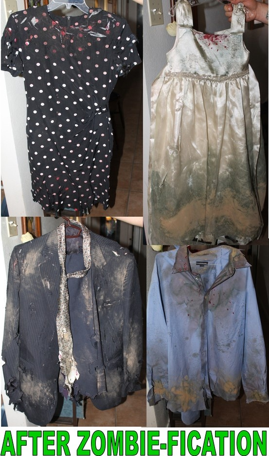 We made Zombie clothes for my daughters birthday party! Made with real mud, food coloring in a spray bottle, red nail polish, a cheese grater, scissors & a box cutter.