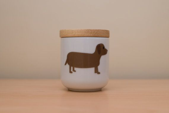 cute wooden lid ceramic canister sausage dog