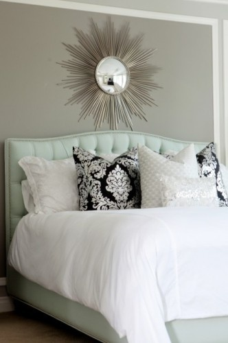 Beautiful master bedroom design with soft gray walls paint color, silver sunburst