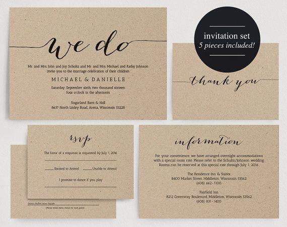 We Do Wedding Invitation Printable Kraft Rustic Set