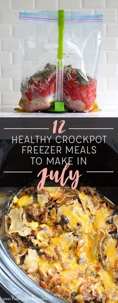 Awesome crockpot recipe ideas! Free printable recipes, shopping list, and meal planning calendar. YES, PLEASE. I tried these recipes and loved them. // 12 Healthy Crockpot Freezer Meals to Make in July