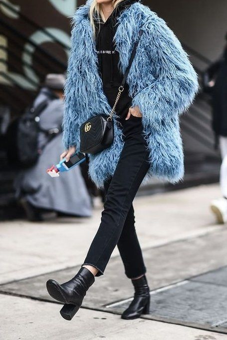 Loving this all black casual outfit elevated with a fluffy blue coat!