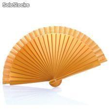 Abanico de madera liso en color oro 19 cm.
