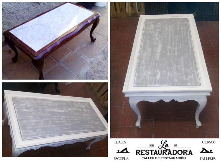 """Mesa de centro pintada con chalk paint. El mármol,también se pintó en decape gris y blanco.…"""""""