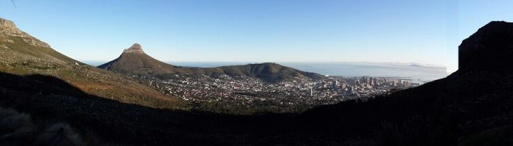 Panoramic view of Cape Town city bowl from the base of Devil's Peak.
